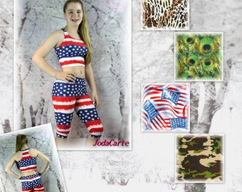Midriff Crop Top and Capri Pants Combo (Girls' & Women's Sizes)