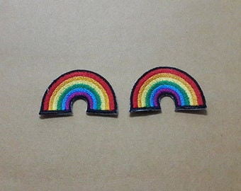 Set 2 pcs Mini Rainbow Applique Embroidered Iron on Patch size 3.5 x 2.3 cm.