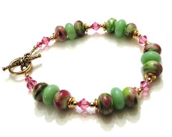 Pink & Green Lampwork Bracelet With Pink Swarovski Crystals, Lampwork Jewelry, Crystal Bracelet, Pink Bracelet, Green Bracelet