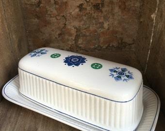Vintage Butter Dish Amcrest Potomac Blue & Green Ironstone American Heritage - #5409
