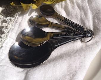 Vintage Measuring Spoon Set Metal Stainless Steel Kitchen Measures - #5588
