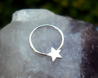 Sterling Silver Nipple Ring - Star Sterling Silver Nipple Ring - Conch Ring - Nipple Piercing - Nipple Jewelry - Septum Ring