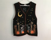 1990s HALLOWEEN ugly / tacky black cat and pumpkin sweater / sweater party / office party / plus size vintage / extra large XL