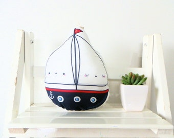 Cute softie, SAILING BOAT, illustrated and printed