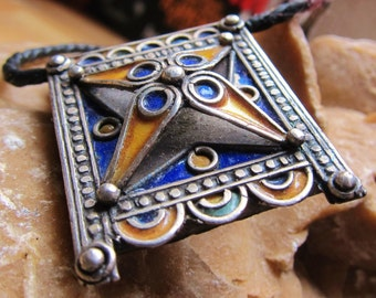 Berber Silver Enamel Prayerbox Amulet with Leather Cord