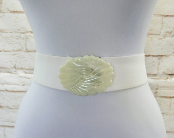 Vintage 80s Art Deco Seashell White Marble Wide Stretch Belt 30-36 L XL