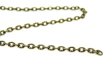 Chain : 2 feet Antique Bronze Textured Oval Link Chain 2mm x 3mm x .6mm -- Lead & Nickel Free 103-2