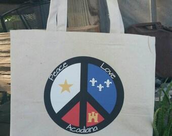 Canvas Tote Bag-Peace, Love, Acadiana/Natural Tote Bag/Reusable Tote Bag/Natural Tote Bag/Peace Sign Tote/Market Tote