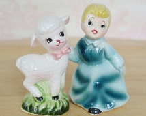 Vintage Mary Had a Little Lamb Salt and Pepper Shakers by Enesco