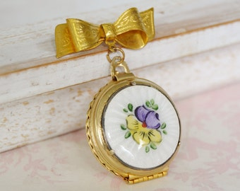 Vintage Locket Brooch with Enamel Pansy Floral Top and 4-Photo Slots by Coro