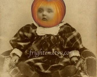Halloween Decor, Pumpkin Head, Weird Art Print, Mixed Media Collage, Halloween Wall Art, Collage Art, Pumkinhead