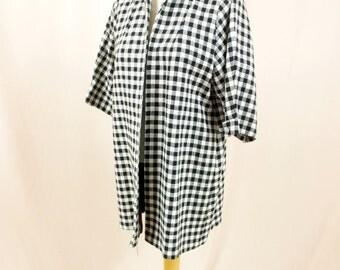 40s Swing Coat * Black and White Checked Coat * 1940s Coat * 40s Jacket * 40s Coat * 1940s Coat * 1940s Swing Coat *Tweed Coat