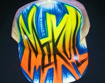 Airbrush Trucker Hat With Name And Favorite Colors, Airbrush Hat , Airbrush Cap, Custom Airbrush, Trucker Hat, Airbrush, Painted Hat