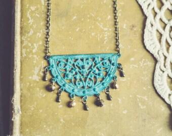 boho patina chandelier necklace.