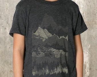 Kid's T-Shirt - Geometric Mountain Range Illustration - TriBlend T-Shirt - 2YR Through 10YR