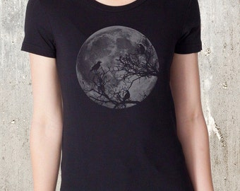 Ravens and Moon Women's T-shirt- American Apparel - Available in S, M, L, XL, and XXL