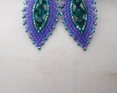 Purple & Green Earrings - Russian Leaf - Paisley Earring - Swarovski Crystal and Seed Bead - Short Drop Style - Beadwork Earring - Beaded