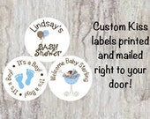 "PRINTED 108 Baby Shower Candy Kiss Stickers 3/4"" Labels - Blue Boy Baby Carriage and Baby Feet labels - Party Favors **DISCOUNTS AVAILABLE**"