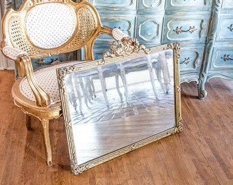 Antique French Mirror, Gilt, Gesso Frame, Heavy, Ornate