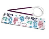 """Small Colorful Jewels on White Background DPN Circular Project Holder for needles up to 7-1/2"""" long S181"""