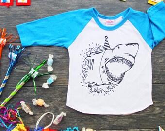 Shark Birthday Hat Screen Print Baby Baseball Tee - Blue