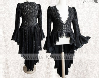 Black Victorian Steampunk cardigan, robe, black lace, Somnia Romantica, approx size ( extra ) Large, see item details for measurements