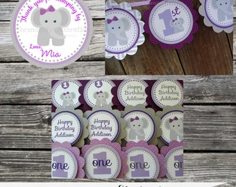 Party Package, Elephant Package, Birthday, Mini Package, Baby Shower, sign, banner, favor tags, cupcake toppers,  personalized, purple grey