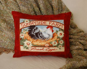 Chicken Pillow/ Farm Decor/ Farm Pillows/ Sunnyside Farm -Fresh Eggs