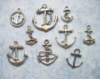 Anchor Charm Collection in Silver Tone - C2484