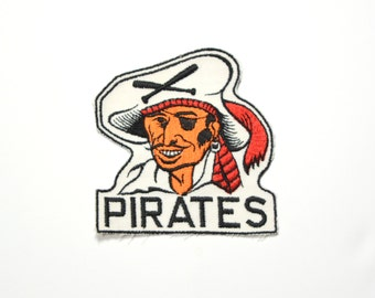 "vintage 50s 60s Pittsburgh Pirates patch MLB baseball 1950 1960 pirates patch large 4"" x 4.5"" Mazeroski Clemente sew on patch"