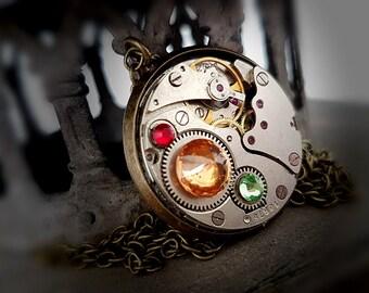 Steampunk Pendant, Rainbow - Vintage Watch Movement with Swarovski Crystals