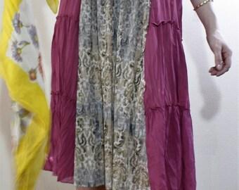 Dress-Boho-Free People-Up-cycled-Crochet-Ruffles-Pink-Mix-Print-Summer