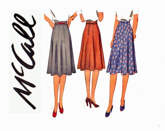 Fabulous Rockabilly Skirt Authentic Vintage 1940s Ladies Sewing Pattern McCall 4266 40s fashion Waist 28 9 gore swing skirt wide waistband