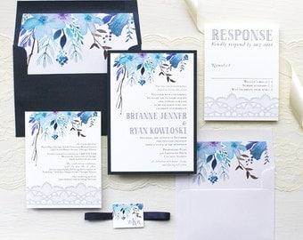 "Blue Watercolor Wedding Invitations, Navy Wedding Invitation, Lace, Floral, Monogram, Whimsical Garden Inspired - ""Indigo Blue"" Sample"