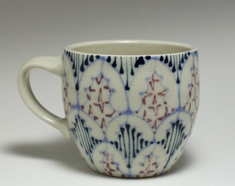 Handmade Wheel Thrown Ceramic  Mug with Sky Blue, Navy and Purple Pattern