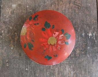 Vintage Japanese Red Papier Maché Trinket Box / Jewelry Box