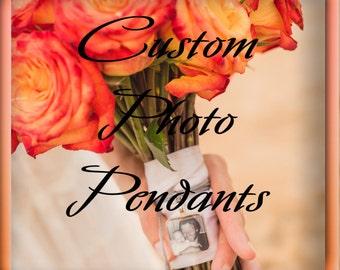 """Wedding bouquet photo, Pendant, Personalized Wedding, Wedding Memorial, Bouquet Picture Charm Memorial Boutonniere, 1"""" square tile"""