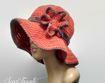 MADE TO ORDER Paprika/ Reddish Orange and Earth Tones Sun hat with shapeable brim/ free crochet earrings /detachable flower clip 100% Cotton