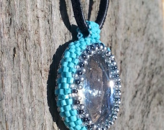 Native beaded Glass stone, Torquoise necklace