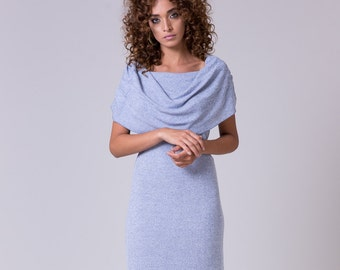Light blue dress Off shoulder dress knee length cotton blue dress Casual midi dress Shawl blue dress bolero dress