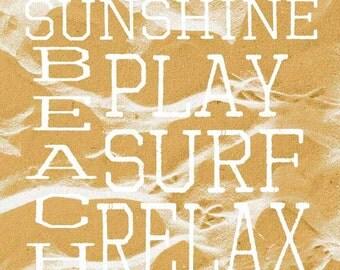 Sandprints Beach Surf Relax Print, Yellow and White Photo, 10x10