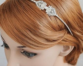 Bridal Headband, Wedding Headband, Crystal Filigree Headband, Vintage Style Wedding Hairband, Bridal Hairpiece, Hair Jewelry, GRACE