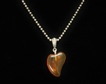 """Amber Heart Pendant Sterling Silver Necklace 15.5"""" Long"""