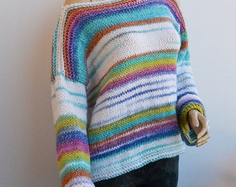 White and multicolor sweater, loose knit, Grunge oversized,warm  loose knit boho sweater READY TO SHIP!