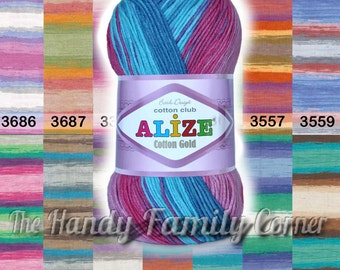 Cotton Baby Yarn. Alize Cotton Gold Batik Design Multicolor yarn. Hypoallergenic eco friendly yarn, Colour of your choice. DSH