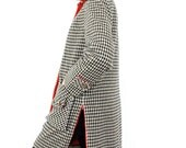 60s Mod Penguin Coat, Wool Houndstooth Check Black & White Bright Red Pop Color Boxy Fit Preppy Jacket, Campus Casual 1960s Overcoat
