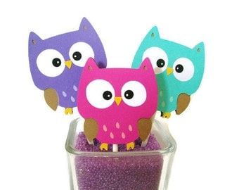 Owl cupcake toppers, birthday decor, baby shower decor, cupcake picks, table decorations, owl party, girl, cake topper, pink purple teal