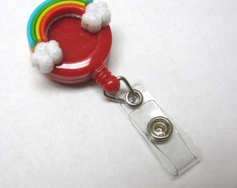 Rainbow Retractable ID Badge Reel Clouds Name Tag Holder