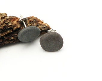 Natural Jewelry Pebble Stud Earrings Sterling Silver Post Eco Friendly Jewelry Rustic Earthy Beach Stone Earrings