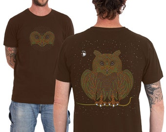 Psychedelic Owl Men T-shirt In Brown, Uv Active, Night Owl, Festival Shirt, Burning Man Clothing, Trippy, Psy Trance, Gift For Man